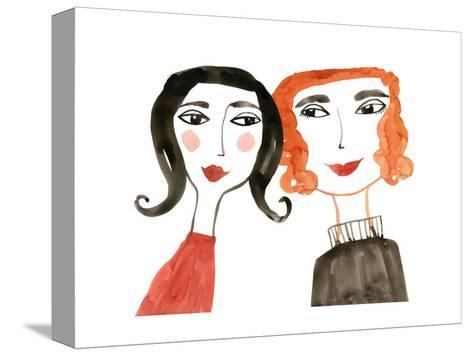 Pair of Women with Heads Together--Stretched Canvas Print
