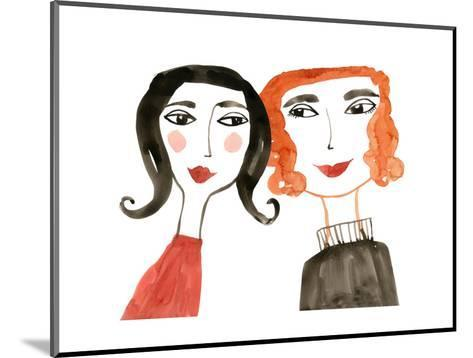 Pair of Women with Heads Together--Mounted Art Print