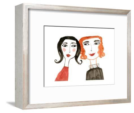 Pair of Women with Heads Together--Framed Art Print