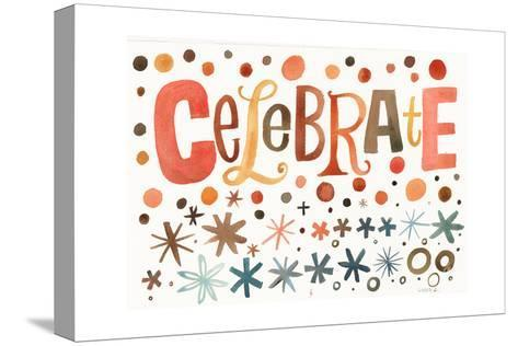 Celebrate Lettering with Star and Dot Pattern--Stretched Canvas Print