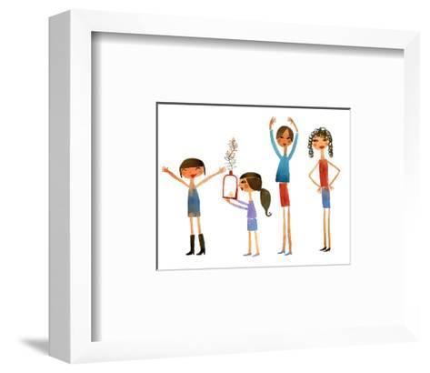 Group of Women and Girls with Expressive Arms--Framed Art Print