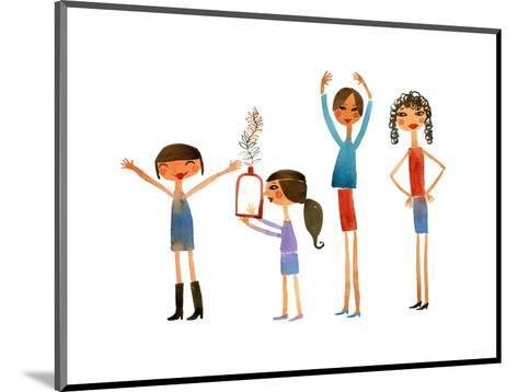 Group of Women and Girls with Expressive Arms--Mounted Art Print
