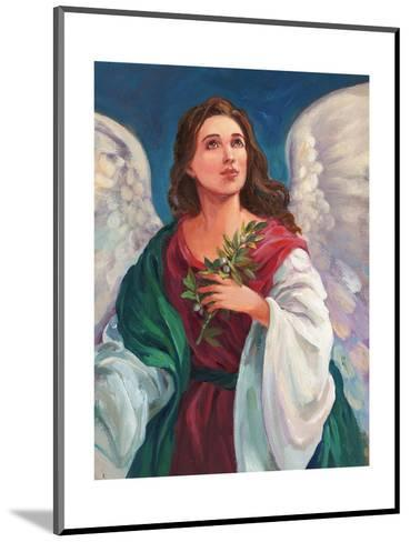 Angel Looking Heavenward with Leafy Branch in Hand--Mounted Art Print