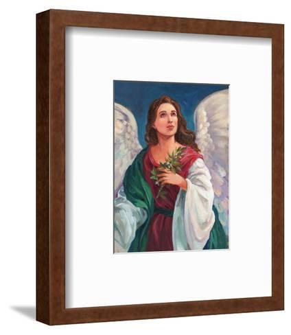 Angel Looking Heavenward with Leafy Branch in Hand--Framed Art Print
