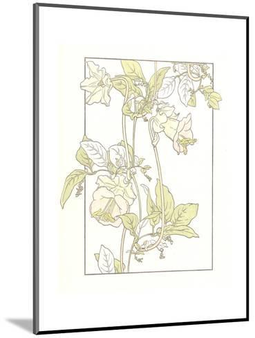 Line Drawing of Pink Flowers on Vines--Mounted Art Print