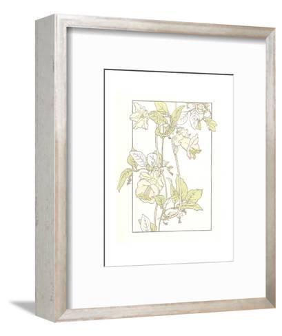 Line Drawing of Pink Flowers on Vines--Framed Art Print