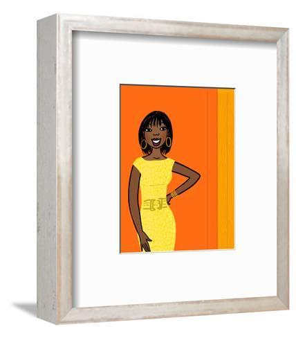 Smiling African-American Woman in Yellow Dress on Orange--Framed Art Print