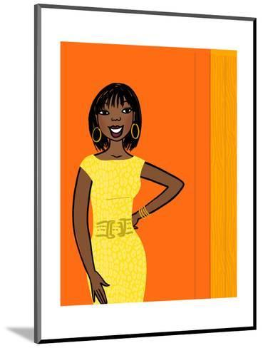 Smiling African-American Woman in Yellow Dress on Orange--Mounted Art Print