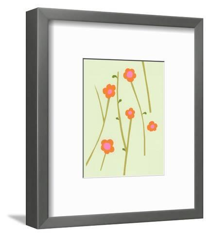 Branches of Graphic Orange Flowers on Pale Green--Framed Art Print