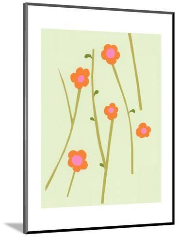 Branches of Graphic Orange Flowers on Pale Green--Mounted Art Print