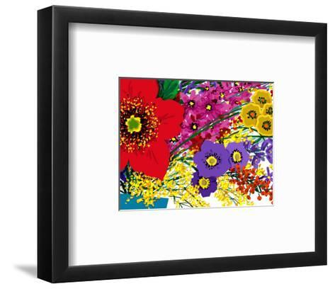 Single Large Red Flower with Pink, Yellow and Purple Flowers--Framed Art Print