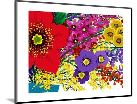 Single Large Red Flower with Pink, Yellow and Purple Flowers--Mounted Art Print