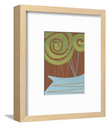 Two Swirly Flowers on Brown in Blue Vase--Framed Art Print