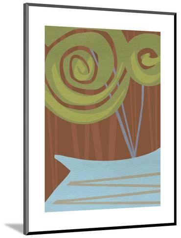 Two Swirly Flowers on Brown in Blue Vase--Mounted Art Print