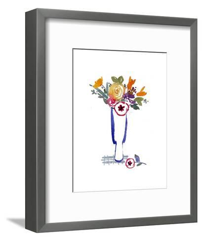 Watercolor of Mixed Flowers in Vase--Framed Art Print