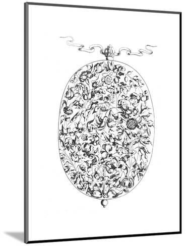 Black and White Mixed Flowers Illustration in Oval Border--Mounted Art Print