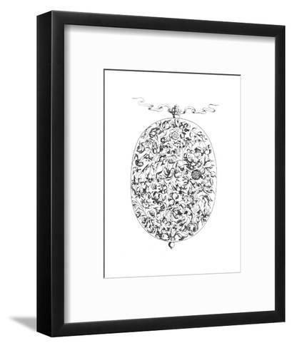 Black and White Mixed Flowers Illustration in Oval Border--Framed Art Print