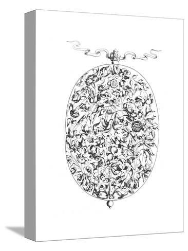 Black and White Mixed Flowers Illustration in Oval Border--Stretched Canvas Print
