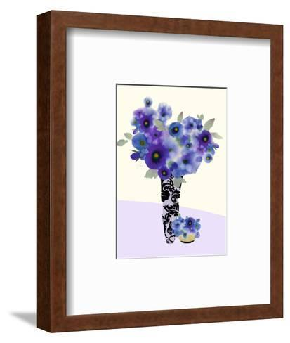 Two Vases Filled with Blue and Purple Flowers--Framed Art Print