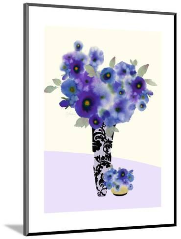 Two Vases Filled with Blue and Purple Flowers--Mounted Art Print
