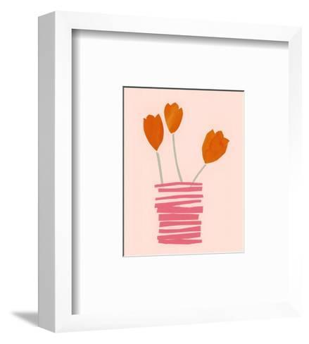 Stylized Watercolor Tulips in Stacked Line Vase--Framed Art Print