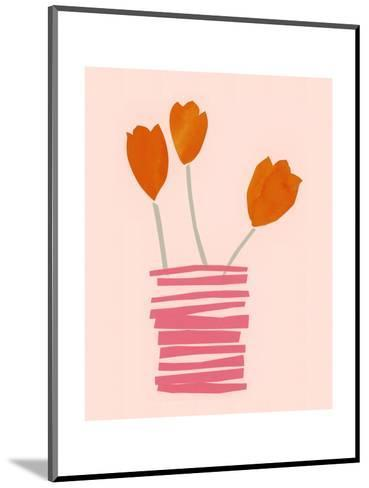 Stylized Watercolor Tulips in Stacked Line Vase--Mounted Art Print