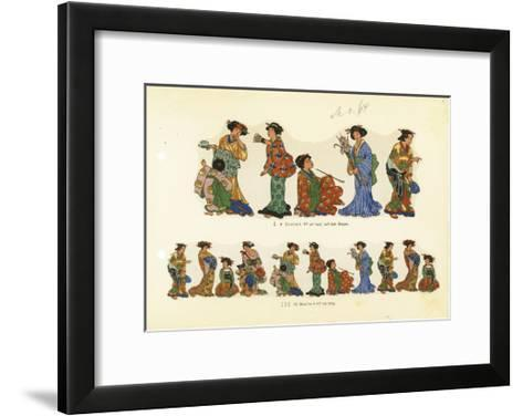 Variations of Asian Woman in a Kimono with Props--Framed Art Print