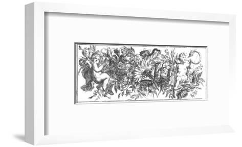Ornate Flowering Garland with Cherubs--Framed Art Print