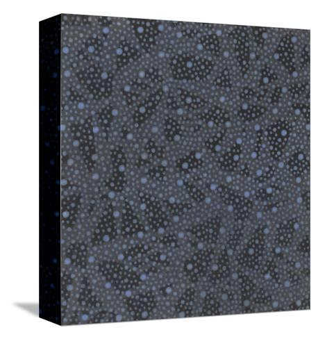Illustrations of Stylized Leaves and Dots on Black--Stretched Canvas Print