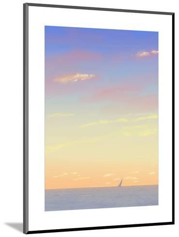 Sailboat Out on the Sea with Sunset Colored Sky--Mounted Art Print