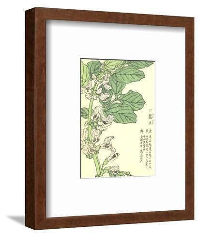 Purple Flowers on Green Stem with Asian Writing--Framed Art Print
