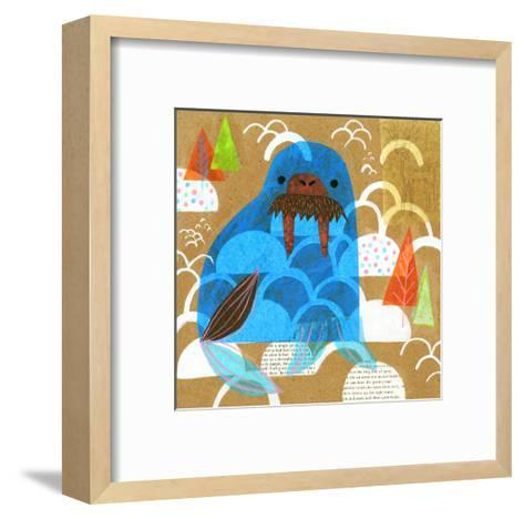 Collage of a Walrus with Trees in Background--Framed Art Print