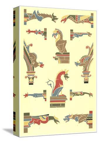 Stylized Gargoyles with Other Pillar Finials--Stretched Canvas Print