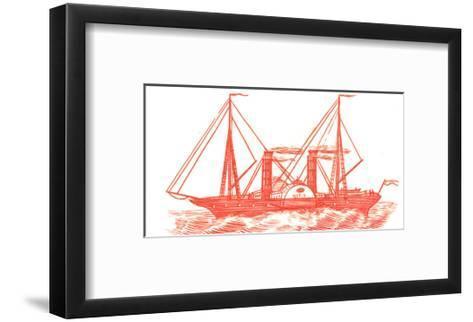 Red Illustration of Ship in Profile--Framed Art Print