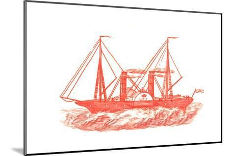 Red Illustration of Ship in Profile--Mounted Art Print