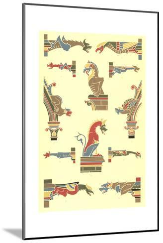Stylized Gargoyles with Other Pillar Finials--Mounted Art Print