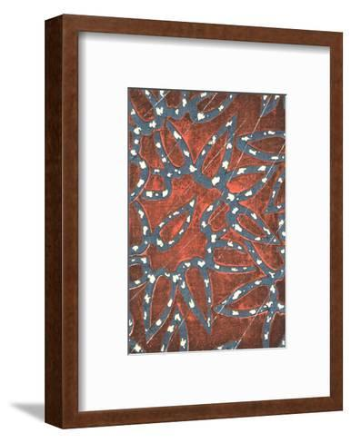 Two Patterns of Flowers and Teardrop Shapes--Framed Art Print