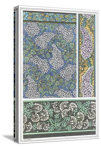 Art Nouveau Lilac Patterns and Floral Border--Stretched Canvas Print