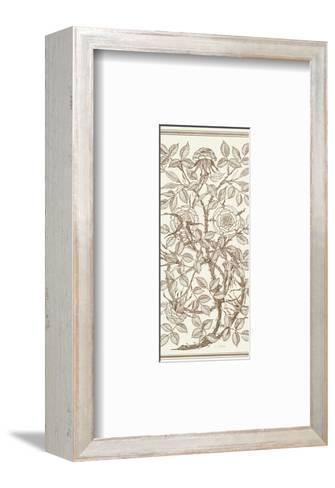 Etching of Roses on Tangled Branches--Framed Art Print