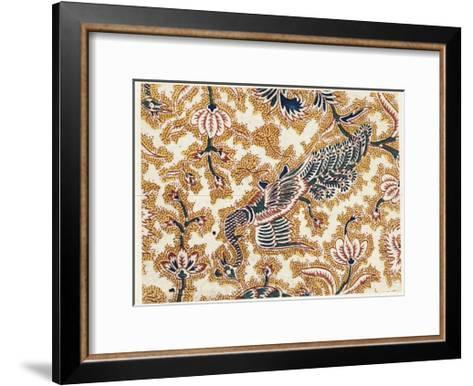 Peacock Design with Flowering Vines--Framed Art Print
