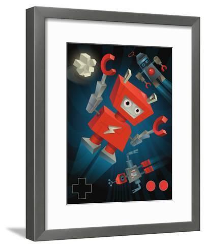 Flying Robots--Framed Art Print