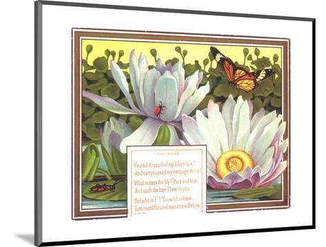 Insects with Water Lilies--Mounted Art Print