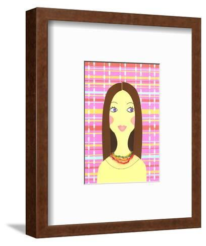 Stylized Brunette Woman on Colorful Plaid--Framed Art Print