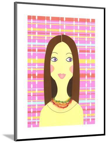 Stylized Brunette Woman on Colorful Plaid--Mounted Art Print