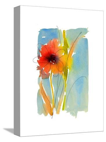 Watercolor of Red and Orange Flower with Leaves and Stem--Stretched Canvas Print
