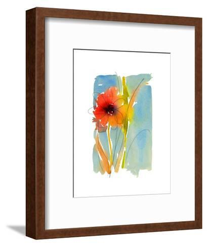 Watercolor of Red and Orange Flower with Leaves and Stem--Framed Art Print