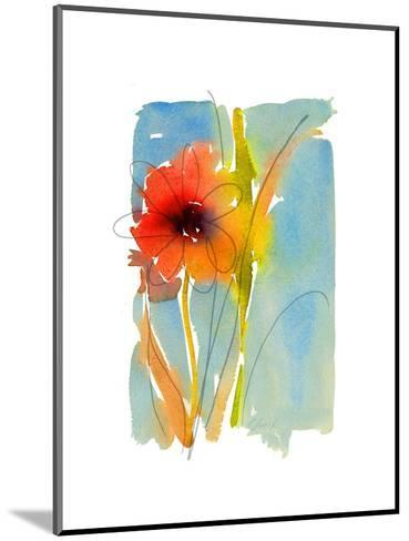 Watercolor of Red and Orange Flower with Leaves and Stem--Mounted Art Print