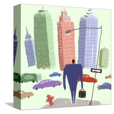 Man in Suit Walking Toward City Filled with Cars--Stretched Canvas Print
