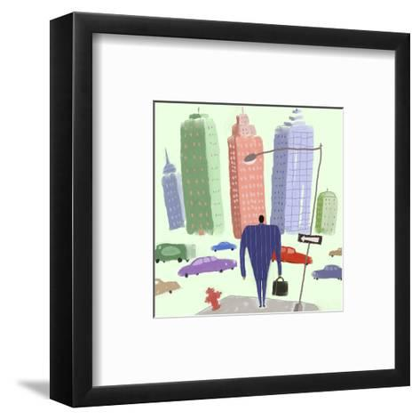 Man in Suit Walking Toward City Filled with Cars--Framed Art Print