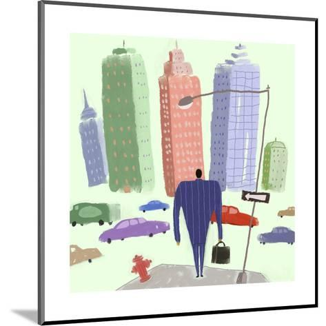 Man in Suit Walking Toward City Filled with Cars--Mounted Art Print